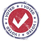 Grunge check mark rubber stamp. USA presidential election patriotic seal with check mark silhouette and I voted text. Rubber stamp vector illustration Royalty Free Stock Photography