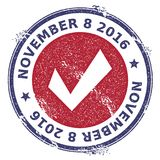 Grunge check mark rubber stamp. USA presidential election patriotic seal with check mark silhouette and November 8, 2016 text. Rubber stamp vector illustration Royalty Free Stock Image