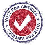 Grunge check mark rubber stamp. USA presidential election patriotic seal with check mark silhouette and Vote For America text. Rubber stamp vector illustration Stock Photo