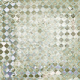 Grunge Checker Abstract. Abstract Background - Heavily distressed diamond checker pattern in light green and gray, with paper grain texture Royalty Free Stock Photo