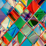 Grunge checkered colorful geometrical composition Royalty Free Stock Images