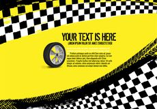 Grunge checkered racing background. With tire imprints elements. Landscape vector illustration in yellow, black and white colors. Automotive rallying concept in vector illustration