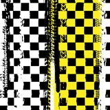 Grunge checkered racing background. With tire imprints elements. Vector illustration in yellow, black and white colors. Automotive rallying concept in modern royalty free illustration