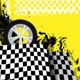 Grunge checkered racing background. With tire imprints elements. Vector illustration in yellow, black and white colors. Automotive rallying concept in modern vector illustration