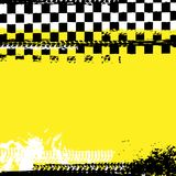 Grunge checkered racing background. With tire imprints elements. Vector illustration and yellow, black and white colors. Automotive rallying concept in modern royalty free illustration