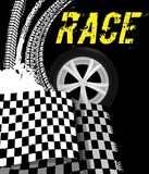Grunge checkered racing background. Grunge racing background with checkered flag and tire imprints elements. Vector illustration in yellow, black and white stock illustration