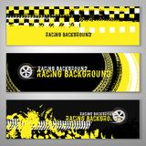 Grunge checkered racing banner. Landscape banners with grunge checkered racing elements. Vector illustration in black, yellow and white colours. Automotive Royalty Free Stock Images