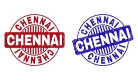 Grunge CHENNAI Round Porysowani Watermarks royalty ilustracja