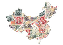 Grunge China map with Yuan Royalty Free Stock Photo