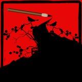 Grunge chino del cepillo de la tinta de la caligrafía Imagen de archivo