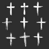 Grunge christelijke dwarspictogrammen Stock Foto's