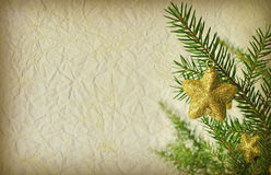 Grunge Christmas background. With christmas tree branch Royalty Free Stock Photography