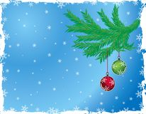 Grunge christmas background with baubles, vector Royalty Free Stock Image