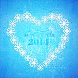 Grunge Christmas background and blue hearts Royalty Free Stock Photography
