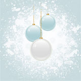 Grunge Christmas background with blue and white baubles Royalty Free Stock Photos