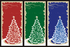 Grunge Christmas backgrounds. Three Christmas or New Year vertical backgrounds, cards, panels or tags with christmas tree and grunge golden border Royalty Free Stock Photos