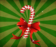 Grunge christmas candy cane with bow Royalty Free Stock Photo