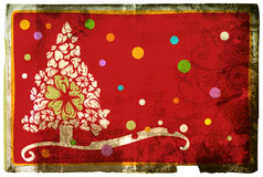 Grunge Christmas card. Grunge card with Christmas tree and flower swirl design on rich paper texture. Clipping path included Stock Images