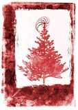 Grunge christmas card - red Royalty Free Stock Photo