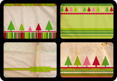 Grunge Christmas cards. Grunge set of Christmas tree retro style cards with tree and lines patterns on paper background, each card jumbo size 10x15cm Stock Photography