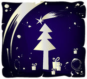 Grunge Christmas drawing, vector. Christmas background, golden ink on blue paper royalty free illustration