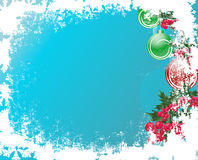 Grunge christmas frame with balls and berry. Image with copy space area Stock Photos