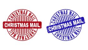 Grunge CHRISTMAS MAIL Textured Round Stamps vector illustration