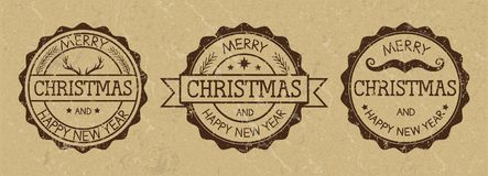 Grunge Christmas stamps on old paper background. Wild west style. Three grunge stamps with inscription `Merry Christmas and Happy new year` on old paper royalty free illustration