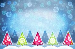 Grunge Christmas tree. Grunge winter background with paper texture and Christmas tree illustration with snowflakes Stock Photo
