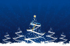 Grunge Christmas trees. With stars and decoration in dark blue Stock Images