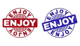 Grunge CIESZY SI? Porysowanych Round znaczki ilustracja wektor