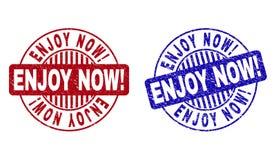 Grunge CIESZY SIĘ TERAZ! Textured Round Watermarks royalty ilustracja