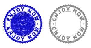 Grunge CIESZY SIĘ TERAZ Textured znaczki ilustracja wektor