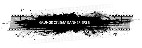 Grunge cinema banner with splash. In black and white design Royalty Free Stock Image