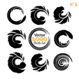 Grunge circle brush strokes set. Hand made artistic collection, template for logo, business, icon design.  Vector Stock Images