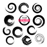 Grunge circle brush strokes set. Hand made Stock Image