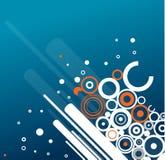 Grunge circles background. White/orange cirle ornament on blue background vector illustration