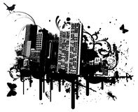 Grunge city. With animals vector illustration Royalty Free Stock Photos