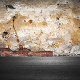 Grunge city background with old brick wall Royalty Free Stock Photos