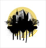 Grunge city circle - yellow Royalty Free Stock Photo