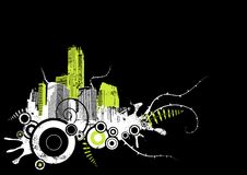 Grunge city in the corner. Vector Royalty Free Stock Images
