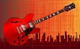 Grunge City Guitar Stock Images