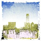 Grunge city skyline background. Stock Photos