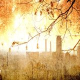 Grunge city skyline and bare autumnal maple branches. Autumnal scene Stock Image