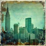 Grunge city skyline with borders Stock Photos