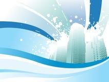 Grunge city with wavy background Stock Photo