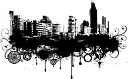 Grunge city white and black Stock Photography