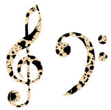 Grunge clefs Stock Images