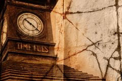 Grunge clock. Tower with words Time Flies carved in wood in London, Europe Royalty Free Stock Photo