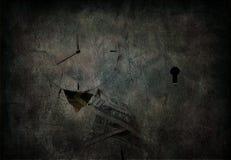 Grunge clock headed man Royalty Free Stock Image